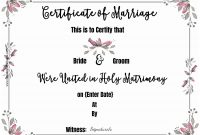 Free Marriage Certificate Template  Customize Online Then Print intended for Blank Marriage Certificate Template