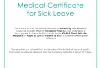 Free Medical Certificate For Sick Leave  Medical  Leave Template Inside Australian Doctors Certificate Template