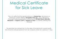 Free Medical Certificate For Sick Leave  Medical  Leave Template Inside Australian Doctors Certificate Template