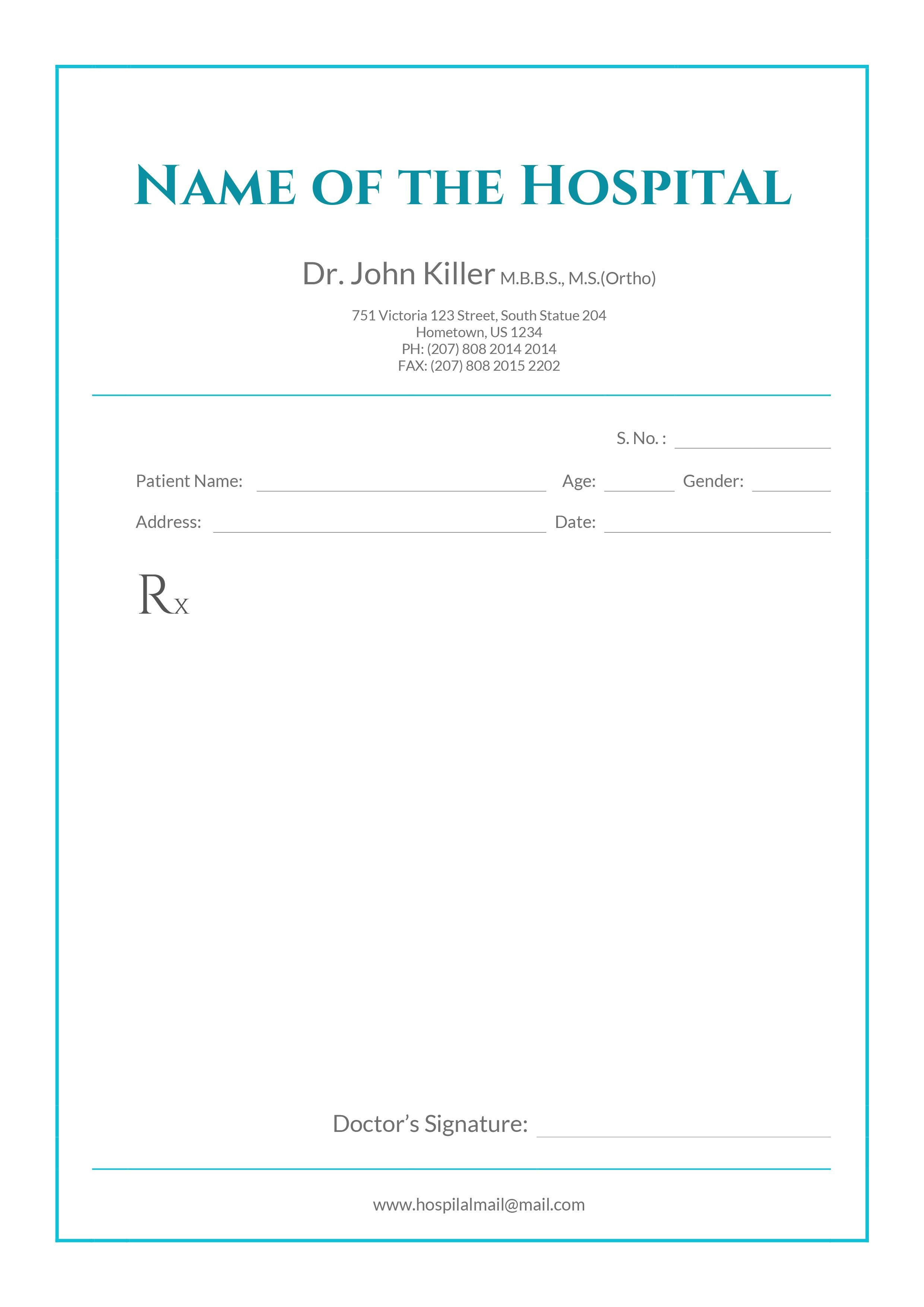 Free Medical Prescription Format In   Drrn Dixit  Medical Intended For Doctors Prescription Template Word