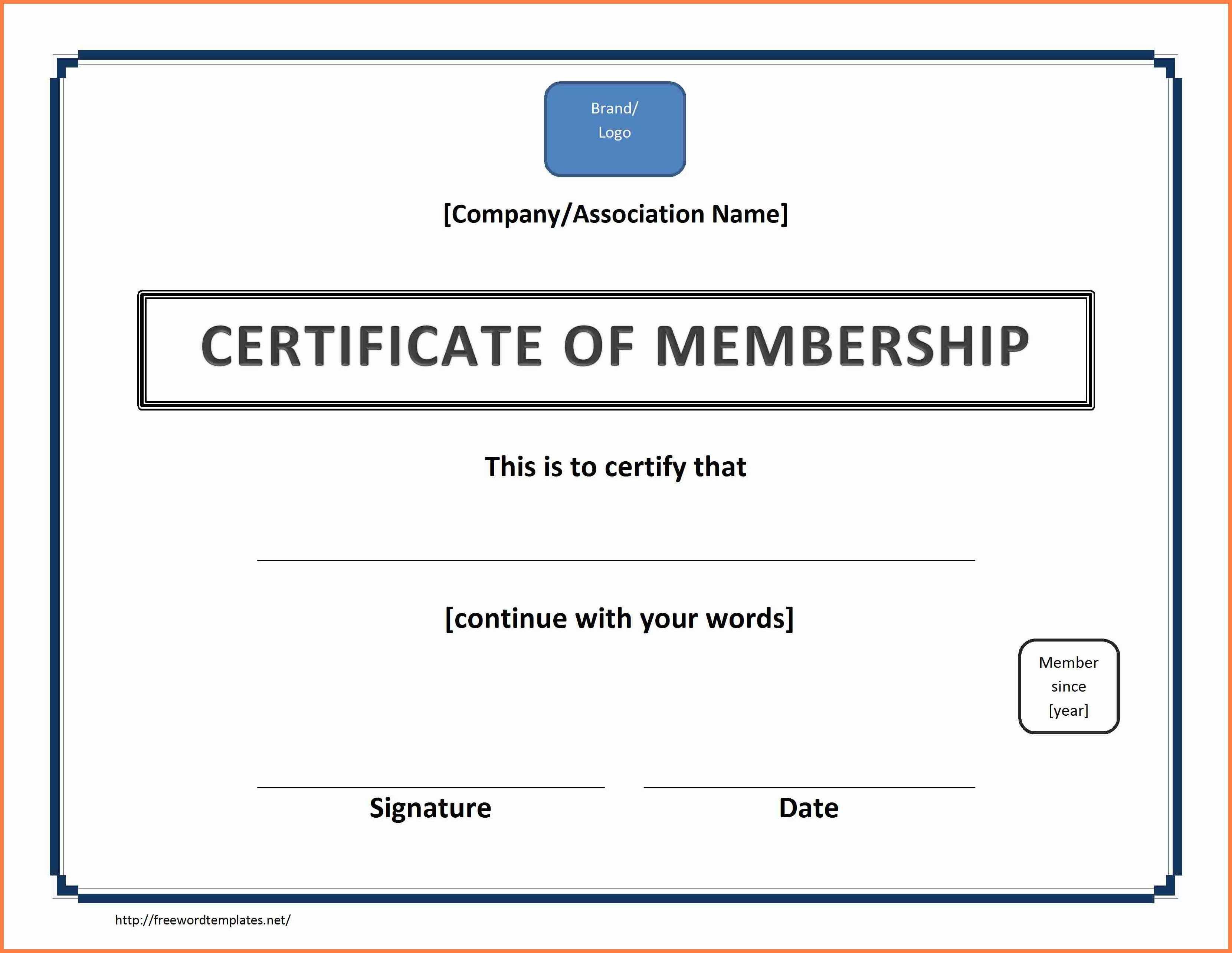 Free Membership Certificate Template  Andrew Gunsberg Within Llc Membership Certificate Template