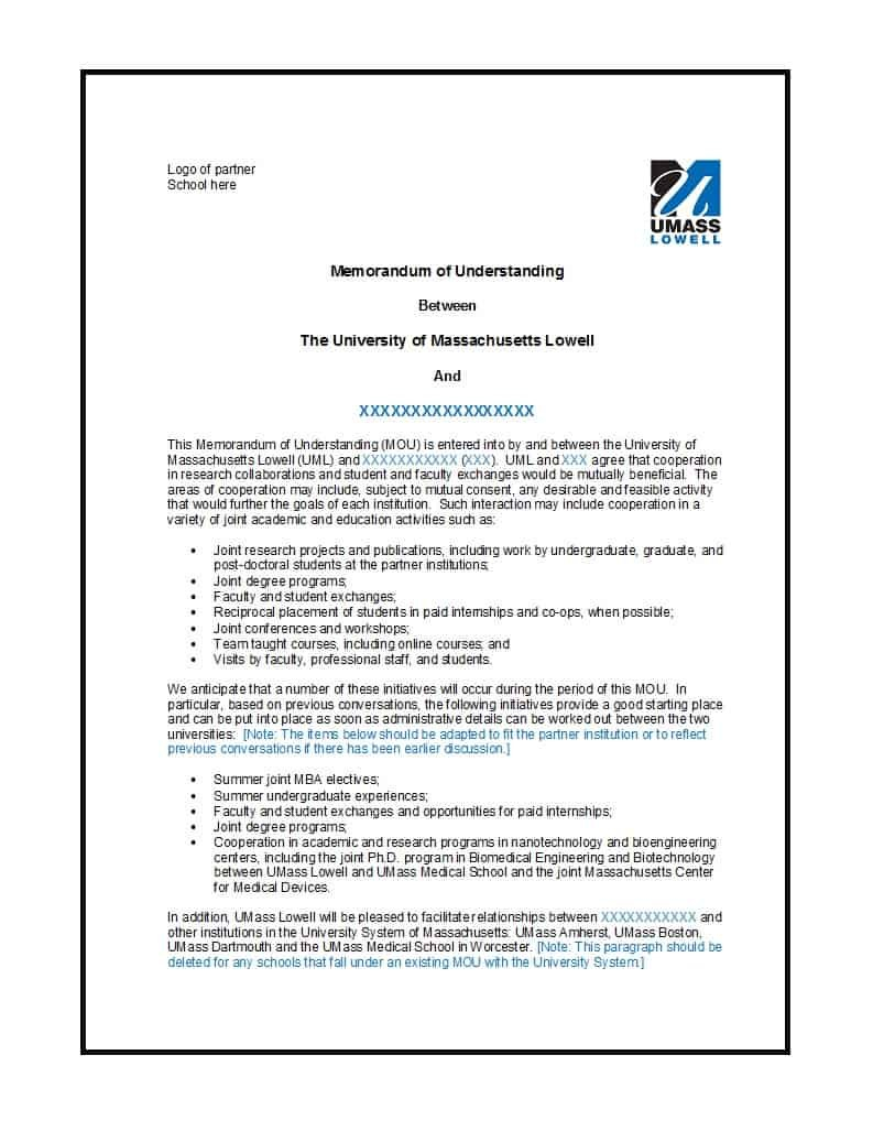 Free Memorandum Of Understanding Templates Word ᐅ Template Lab Within Memorandum Of Agreement Between Two Companies