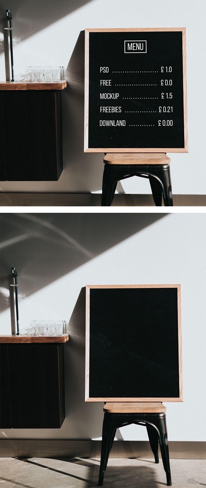 Free Menu Board Mockup Psd Template  Design Inspiration  Menu Intended For Menu Board Design Templates Free