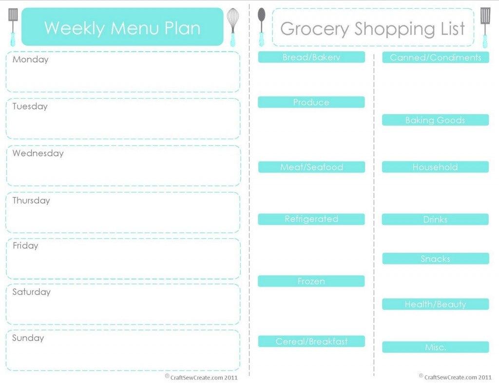 Free Menu Planner Printables  Fab N' Free In Menu Schedule Template
