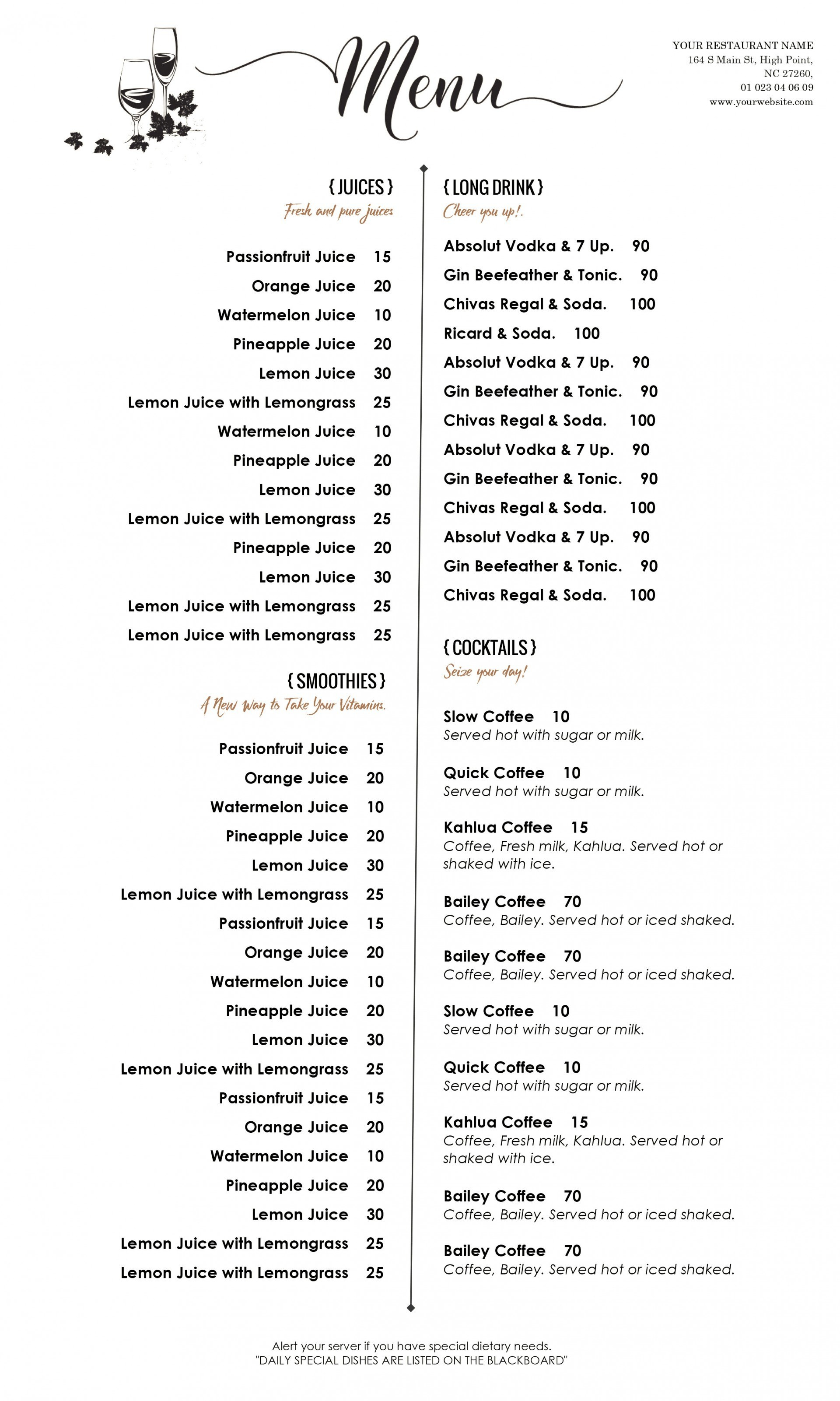 Free Menu Template For Word Wedding Design New Templates Top Regarding Word Document Menu Template