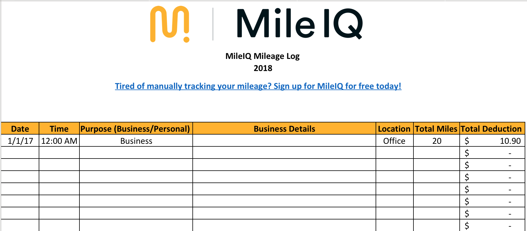 Free Mileage Log Template For Excel  Track Your Miles Intended For Mileage Report Template