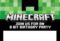 Free Minecraft Birthday Invitations  Personalize For Print And Evite with Minecraft Birthday Card Template