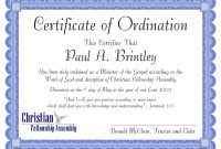 Free Minister Ordination Certificate Clean Best S Of Ordination inside Free Ordination Certificate Template