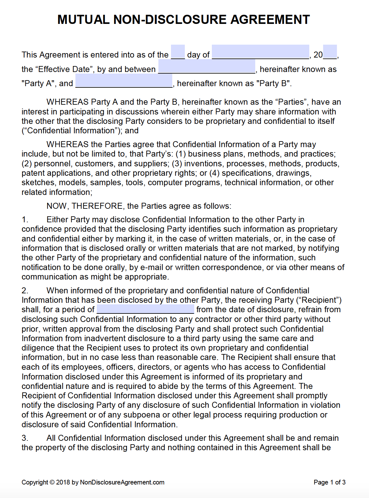 Free Mutual Nondisclosure Agreement Nda  Pdf  Word Docx With Regard To Standard Confidentiality Agreement Template