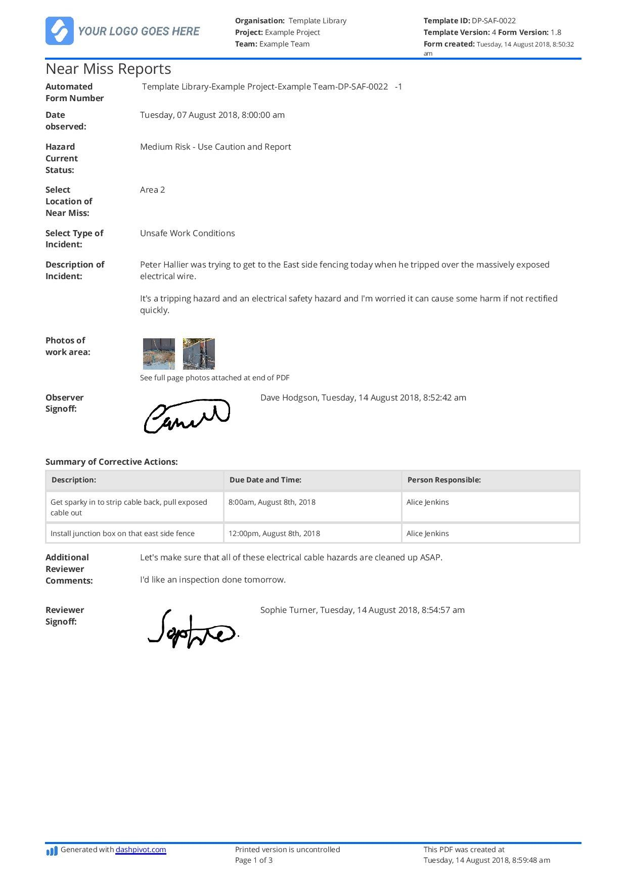 Free Near Miss Reporting Template Easily Customisable Inside Near Miss Incident Report Template