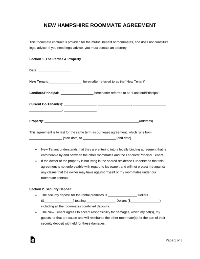 Free New Hampshire Roommate Rental Agreement Form  Pdf  Word With Regard To Free Roommate Rental Agreement Template