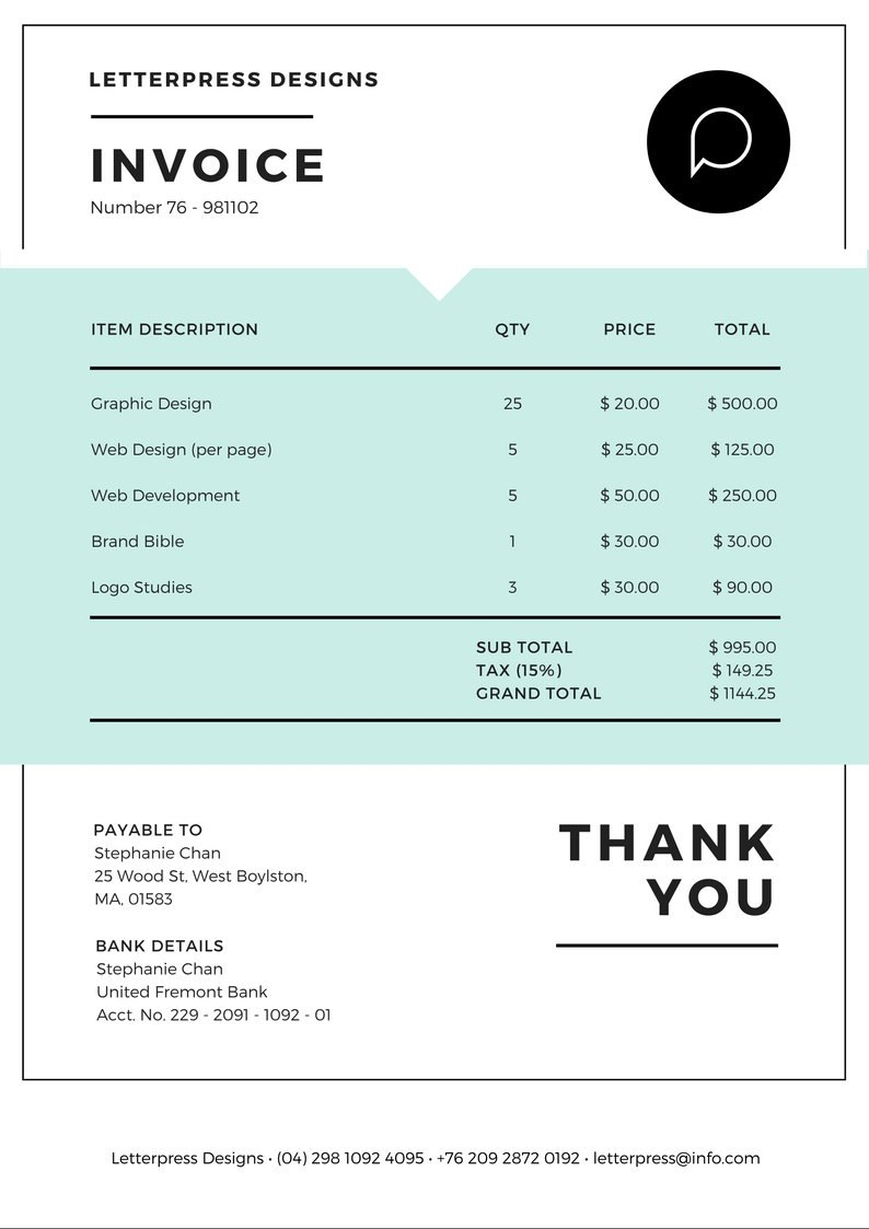Free Online Invoice Maker Design A Custom Invoice In Canva For Make Your Own Invoice Template Free