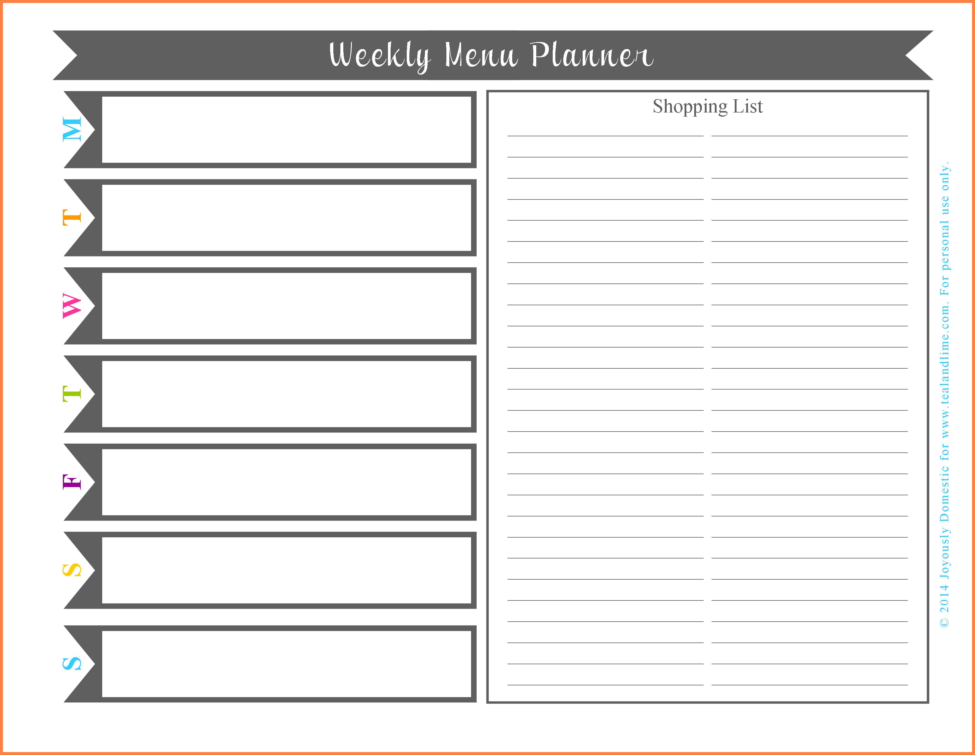 Free Online Menu Planner Template  Andrew Gunsberg In Menu Schedule Template