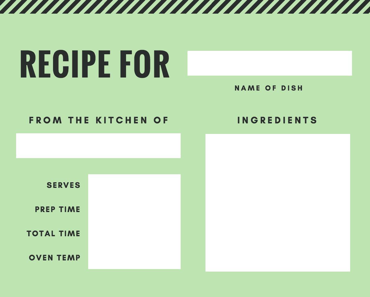 Free Online Recipe Card Maker Design A Custom Recipe Card  Canva Throughout Fillable Recipe Card Template