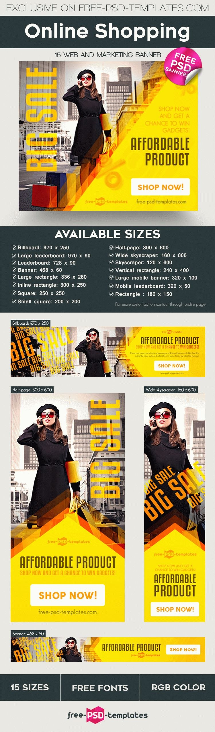 Free Online Shopping Banner In Psd  Free Psd Templates In Free Online Banner Templates