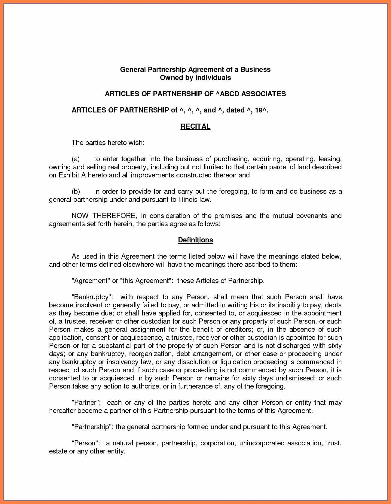 Free Partnership Contract  Andrew Gunsberg Regarding Free Simple General Partnership Agreement Template