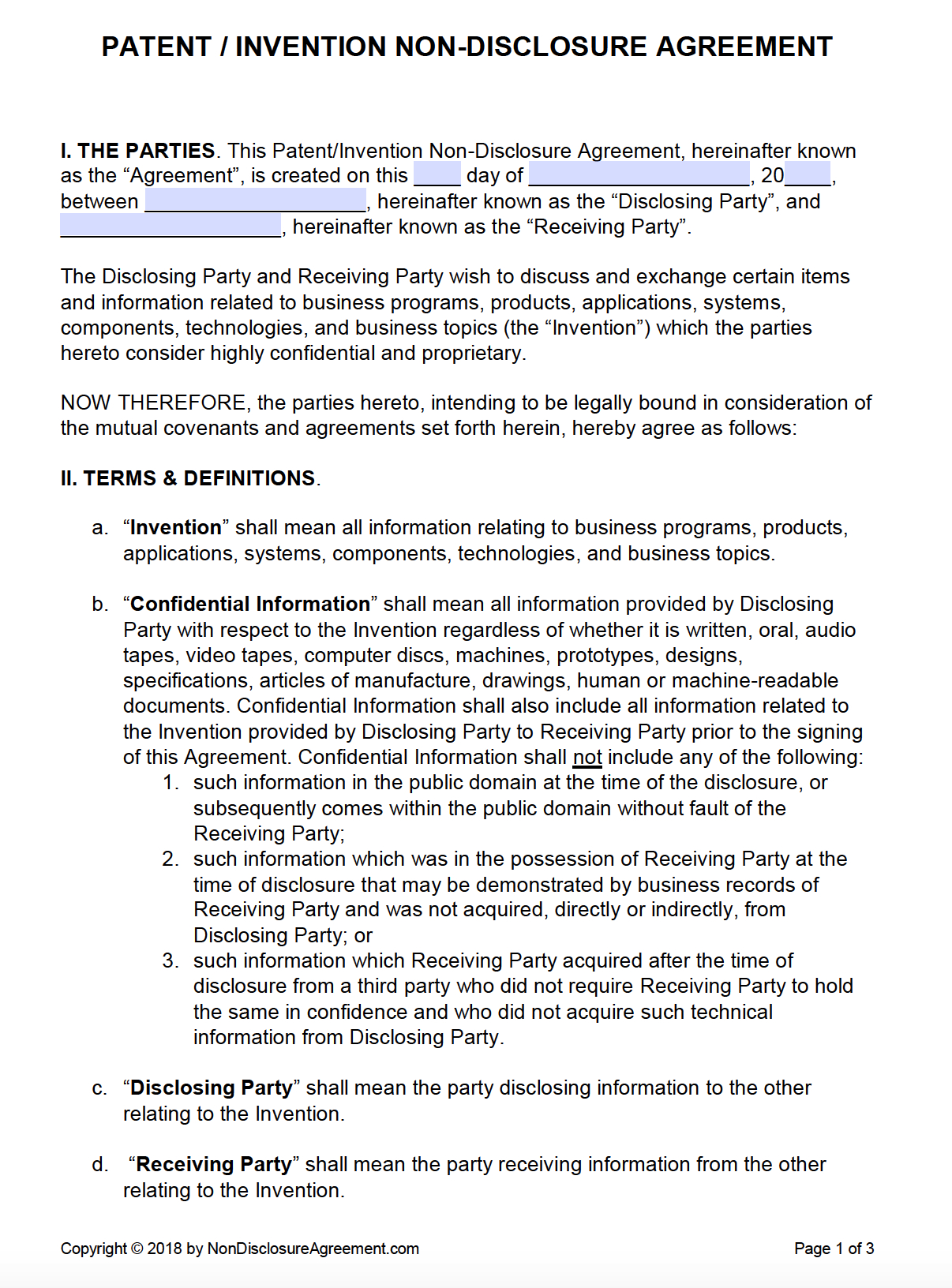 Free Patent Invention Nondisclosure Agreement Nda  Pdf  Word Inside Invention Assignment Agreement Template