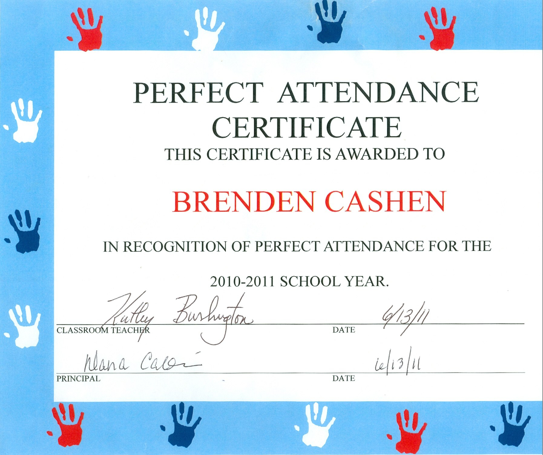 Free Perfect Attendance Certificate Template  Mandegar Pertaining To Perfect Attendance Certificate Template