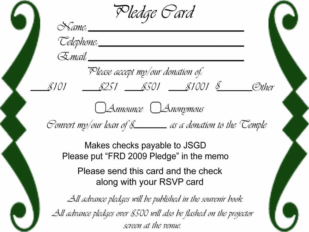 Free Pledge Card Template Of Sheets For Fundraising Donation Inside Donation Card Template Free