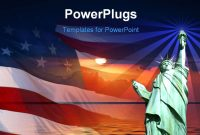 Free Powerpoint Template  Symbol Of America Flag Sunrise Statue pertaining to American Flag Powerpoint Template