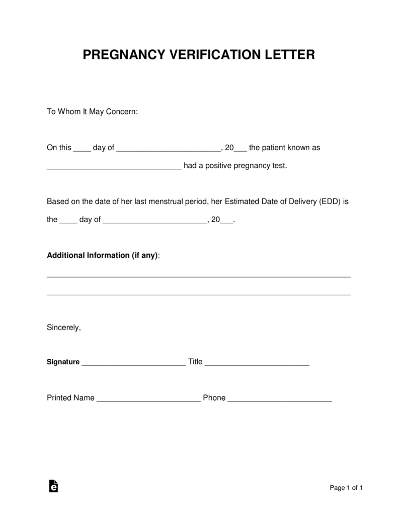 Free Pregnancy Verification Form  Pdf  Word  Eforms – Free Within Australian Doctors Certificate Template