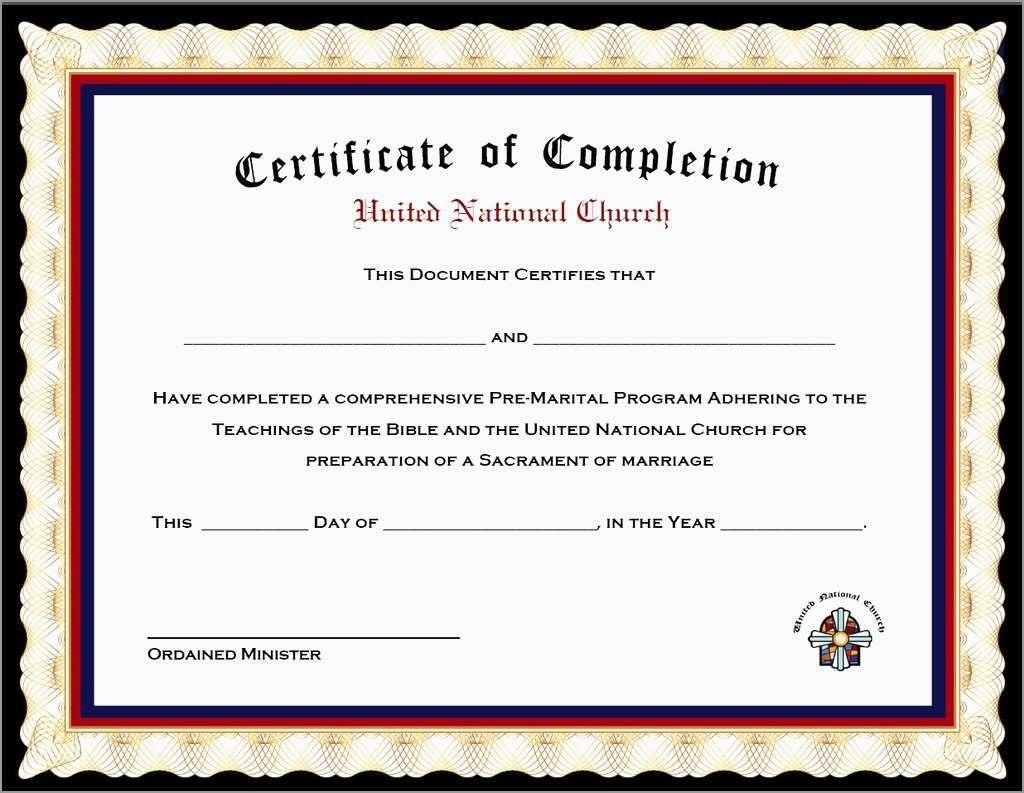 Free Premarital Counseling Certificate Of Completion Template Within Premarital Counseling Certificate Of Completion Template