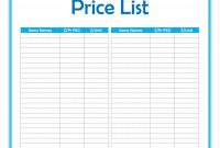 Free Price List Templates Price Sheet Templates ᐅ Template Lab with Blank Table Of Contents Template Pdf