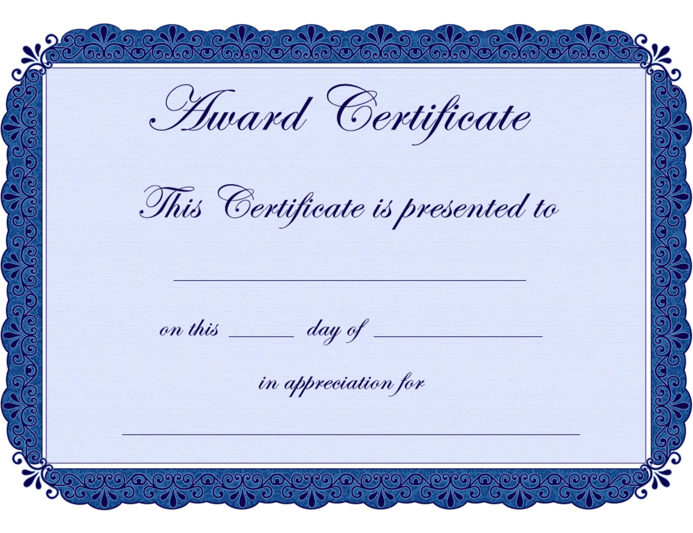 Free Printable Award Certificate Borders   Award Certificate In Borderless Certificate Templates