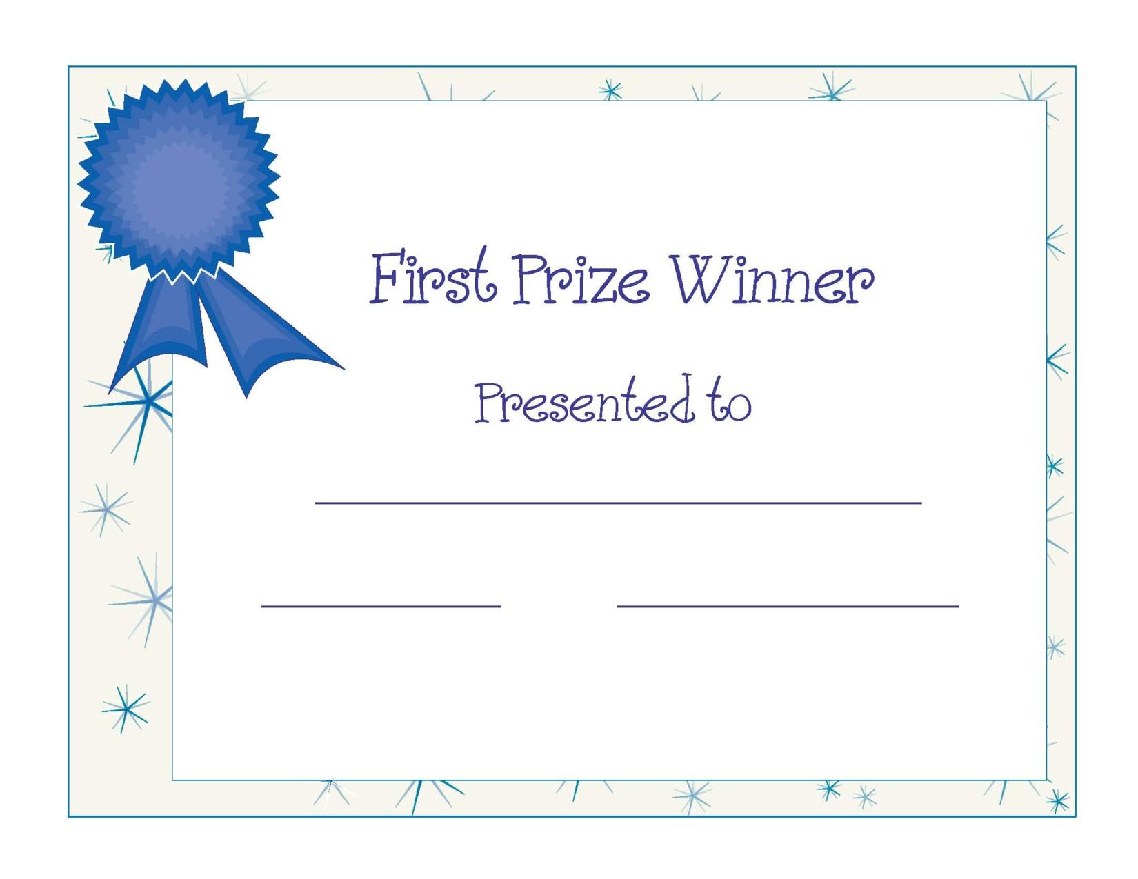 Free Printable Award Certificate Template  Free Printable First For First Place Award Certificate Template