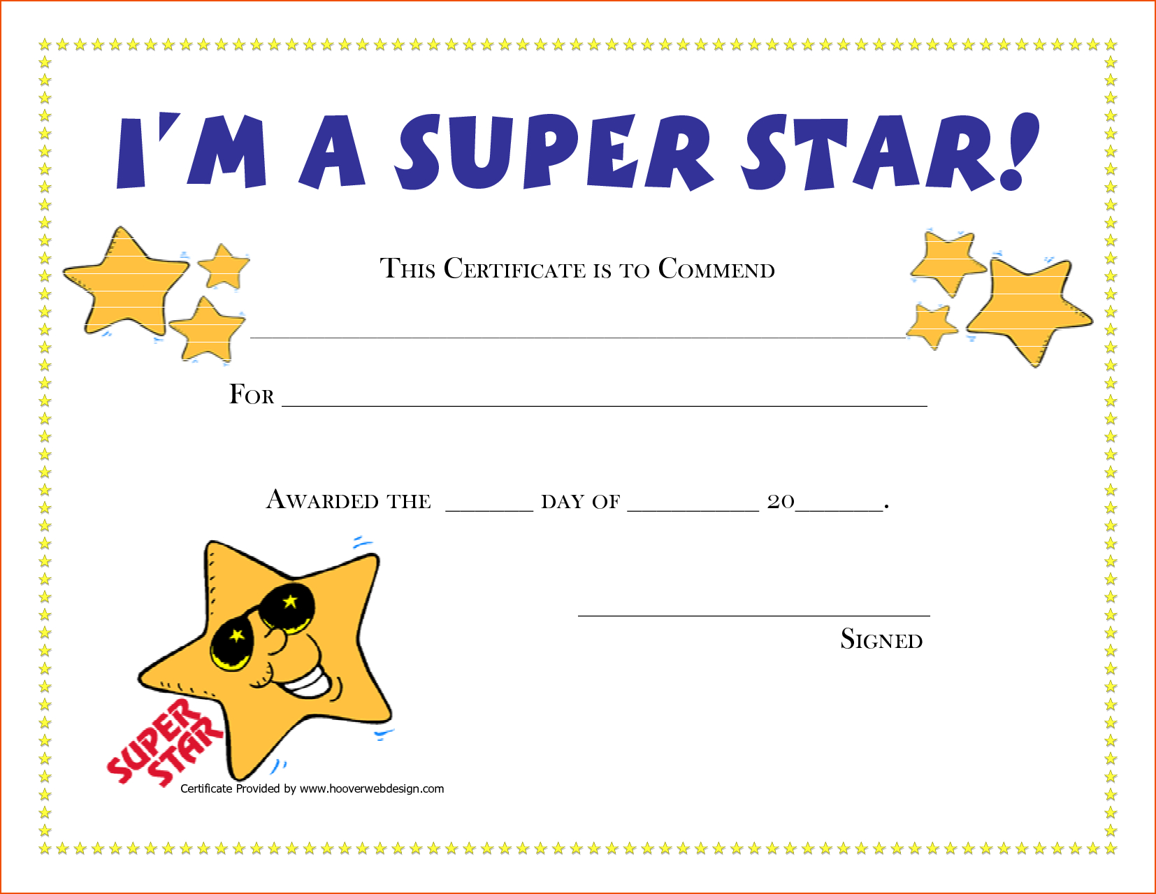 Free Printable Award Certificates  New Calendar Template Site  G Intended For Star Award Certificate Template