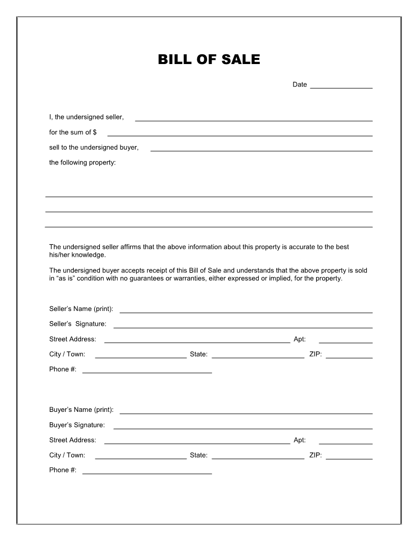Free Printable Blank Bill Of Sale Form Template  As Is Bill Of Sale Pertaining To Blank Legal Document Template