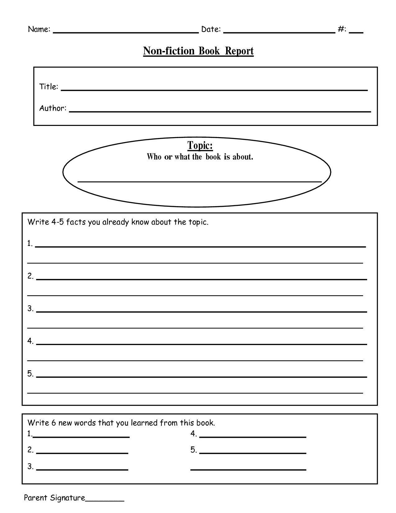 Free Printable Book Report Templates  Nonfiction Book Reportdoc Inside Report Writing Template Free