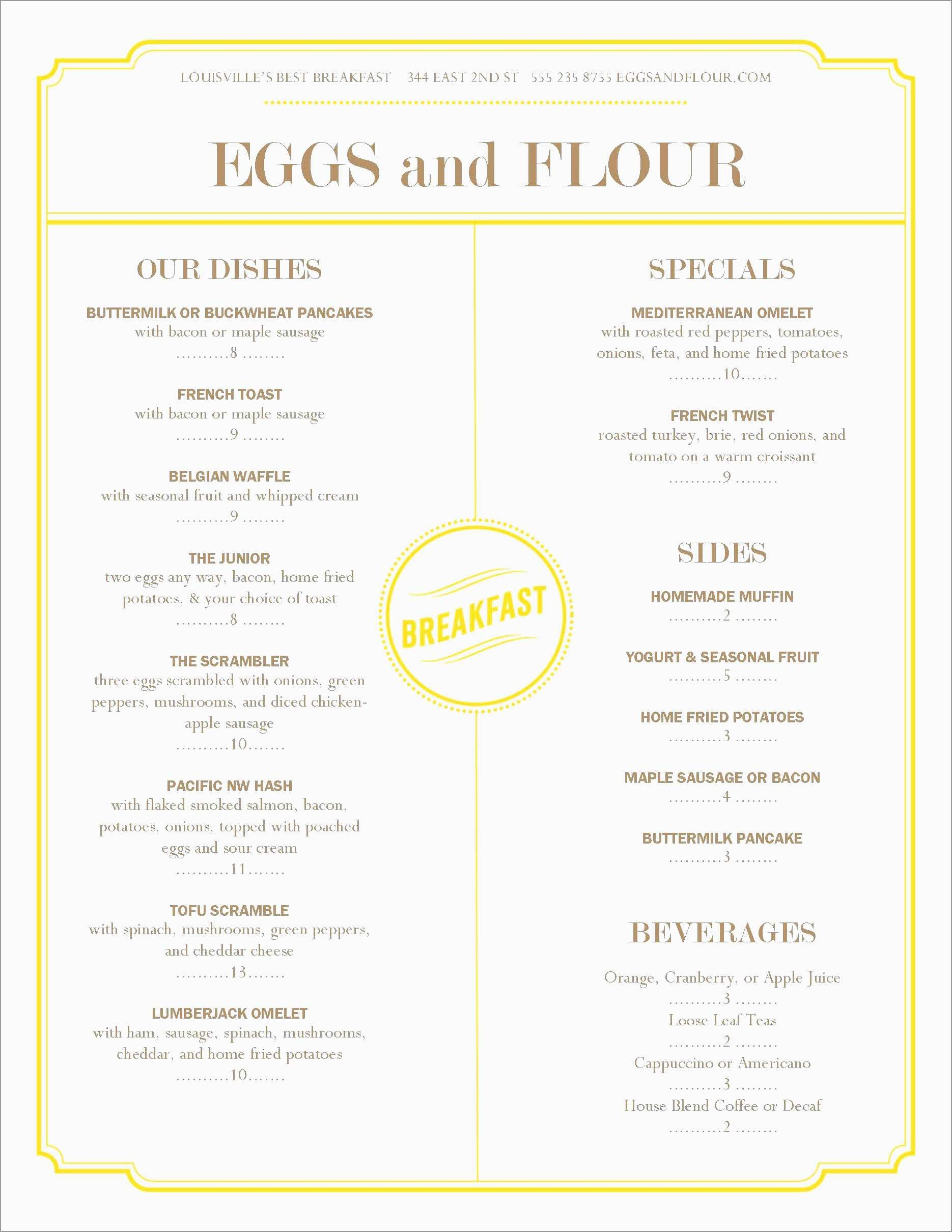 Free Printable Breakfast Menu Templates Luxury Menu Template Word For Breakfast Menu Template Word