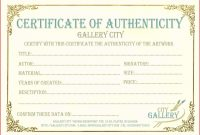 Free Printable Certificate Of Authenticity Templates Resume Acur with Certificate Of Authenticity Photography Template