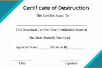 Free Printable Certificate Of Destruction Sample  Certificate Template for Destruction Certificate Template