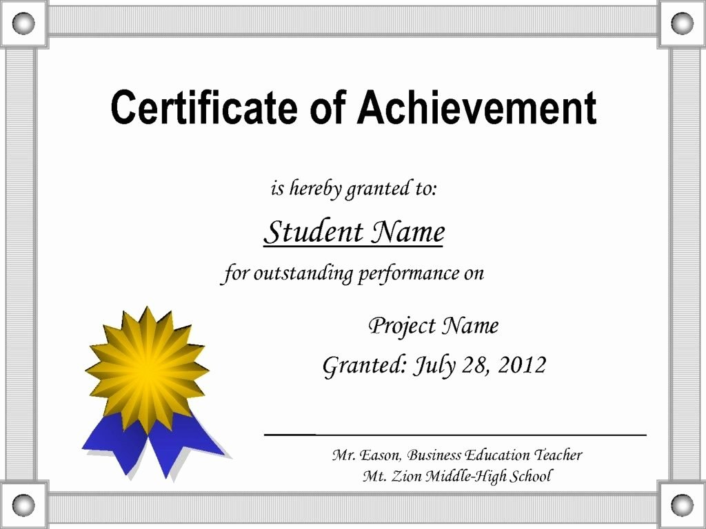 Free Printable Certificate Template Inspirational Printable Intended For Free Student Certificate Templates