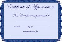 Free Printable Certificates Certificate Of Appreciation Certificate regarding Certificates Of Appreciation Template