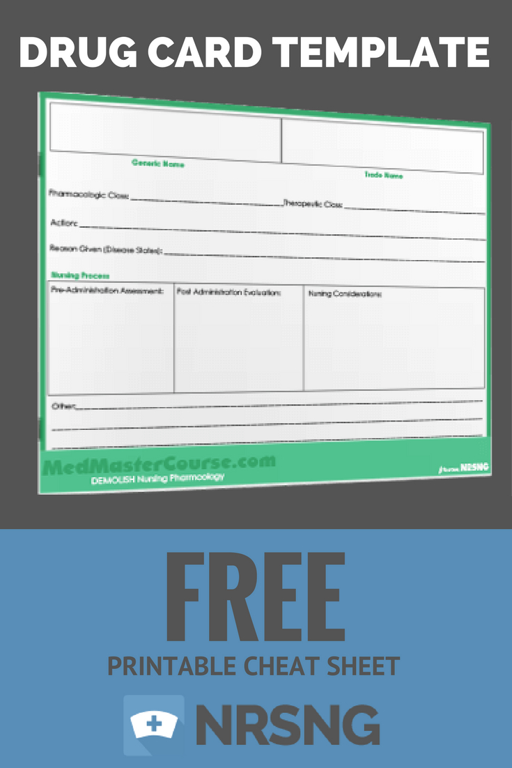 Free Printable Cheat Sheet  Drug Card Template  Nursing School For Med Cards Template