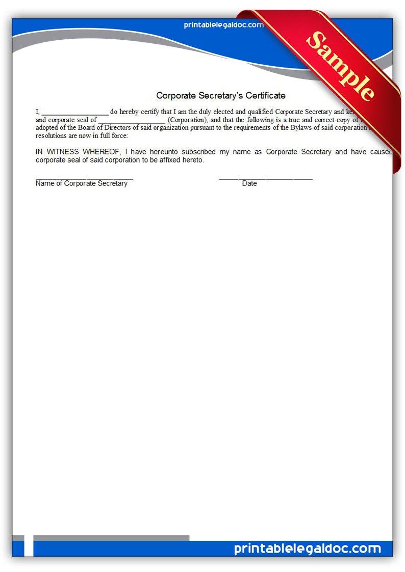 Free Printable Corporate Secretary's Certificate Form Generic Pertaining To Corporate Secretary Certificate Template