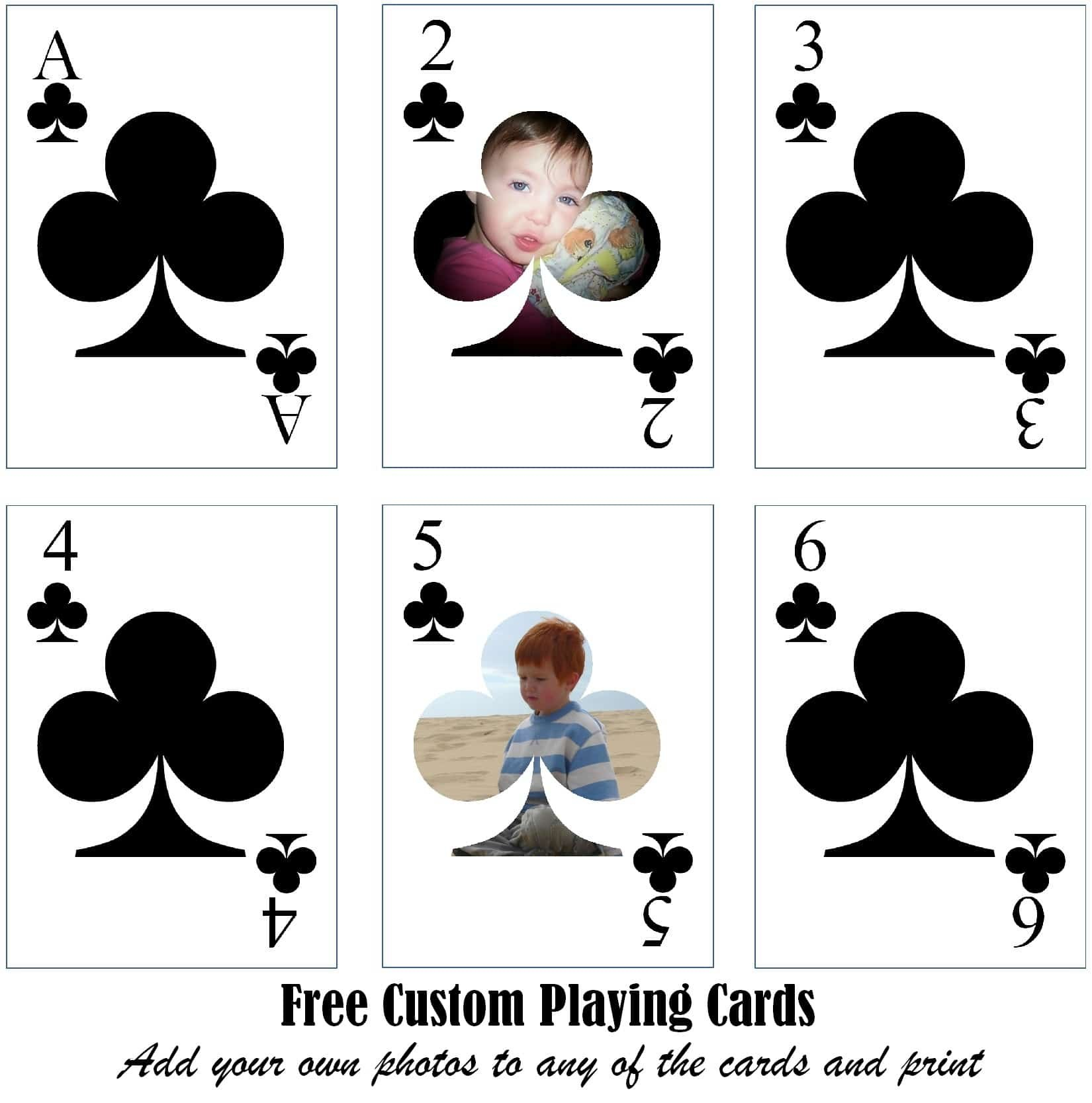 Free Printable Custom Playing Cards  Add Your Photo Andor Text Throughout Free Printable Playing Cards Template