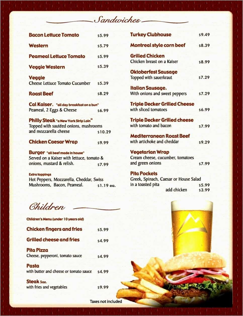Free Printable Food Menu Templates Pretty Free Printable Restaurant With Regard To Free Printable Restaurant Menu Templates