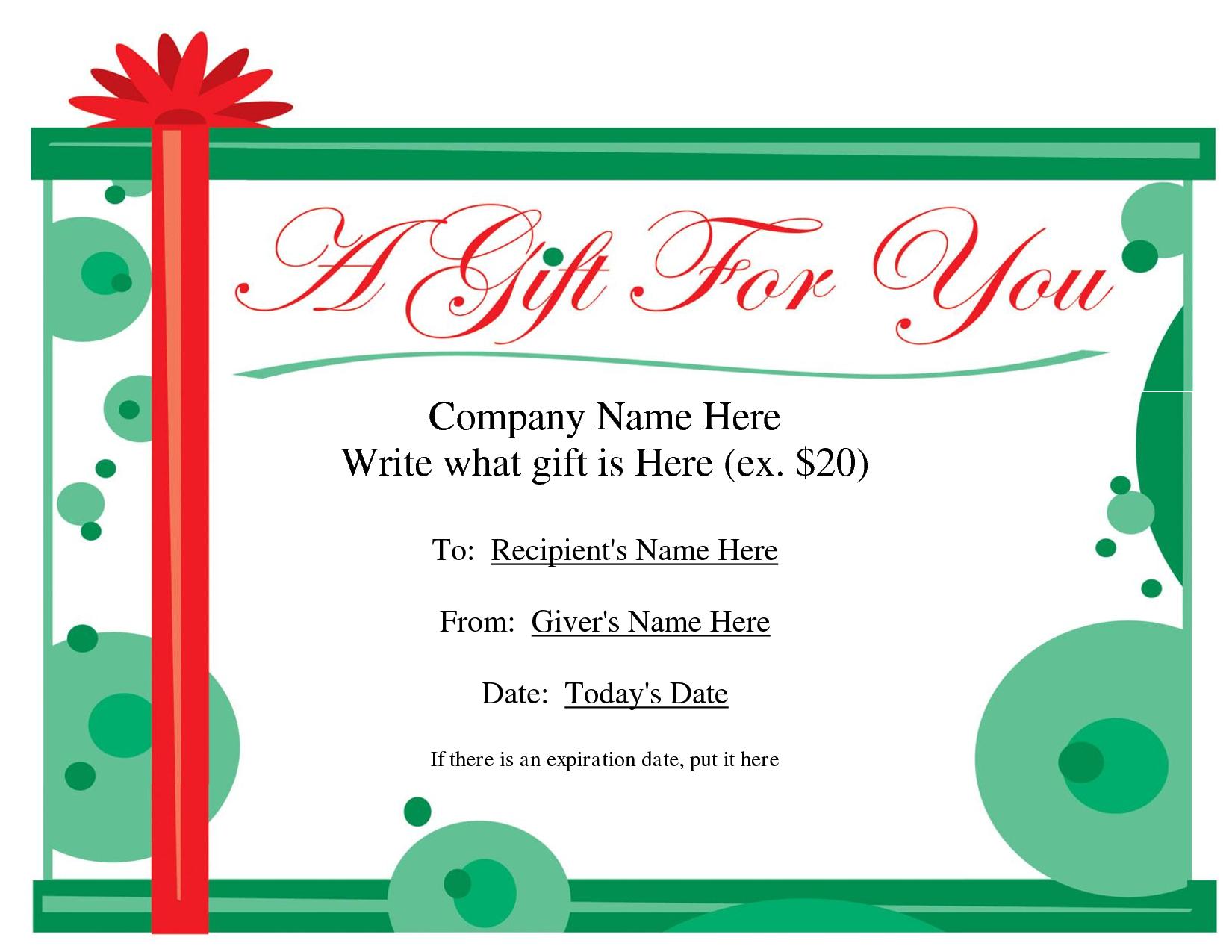 Free Printable Gift Certificate Template  Free Christmas Gift Pertaining To Homemade Christmas Gift Certificates Templates