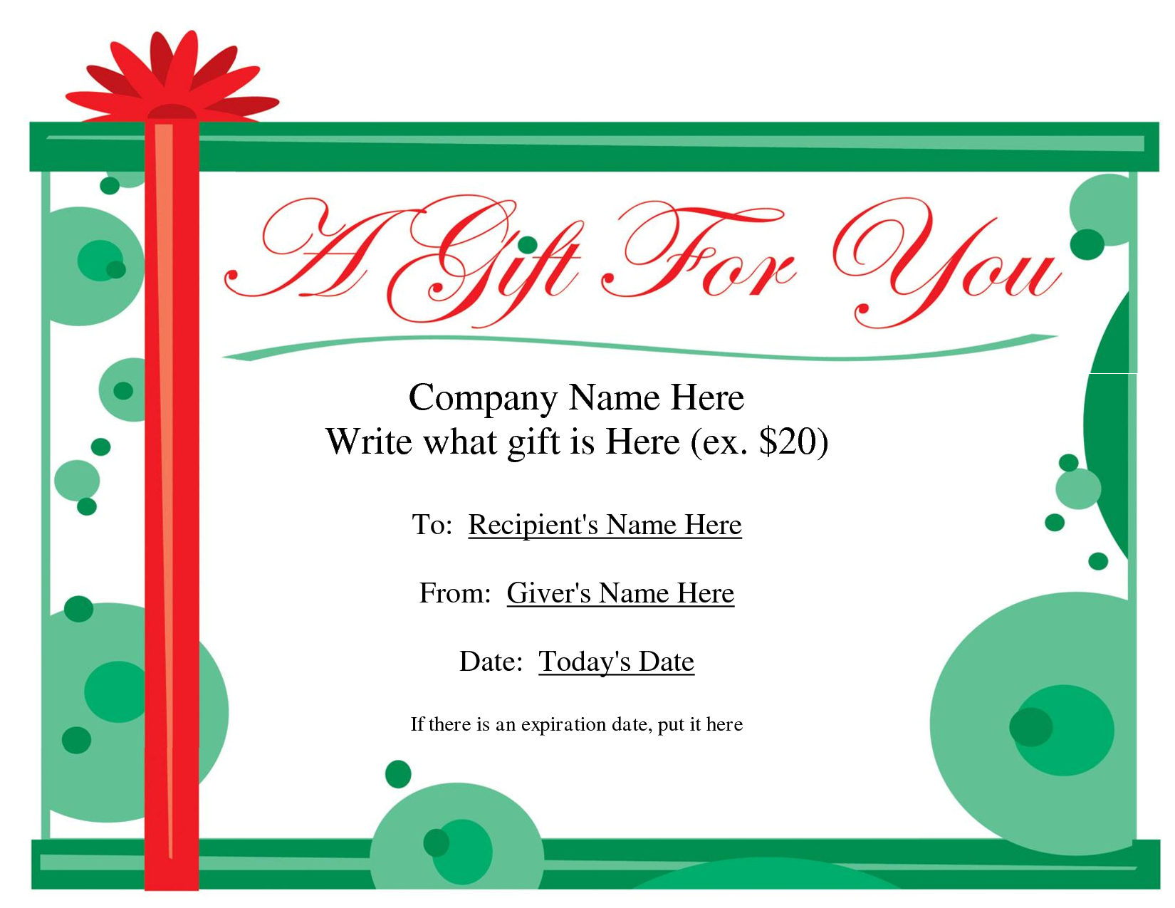 Free Printable Gift Certificate Template  Free Christmas Gift Throughout Company Gift Certificate Template