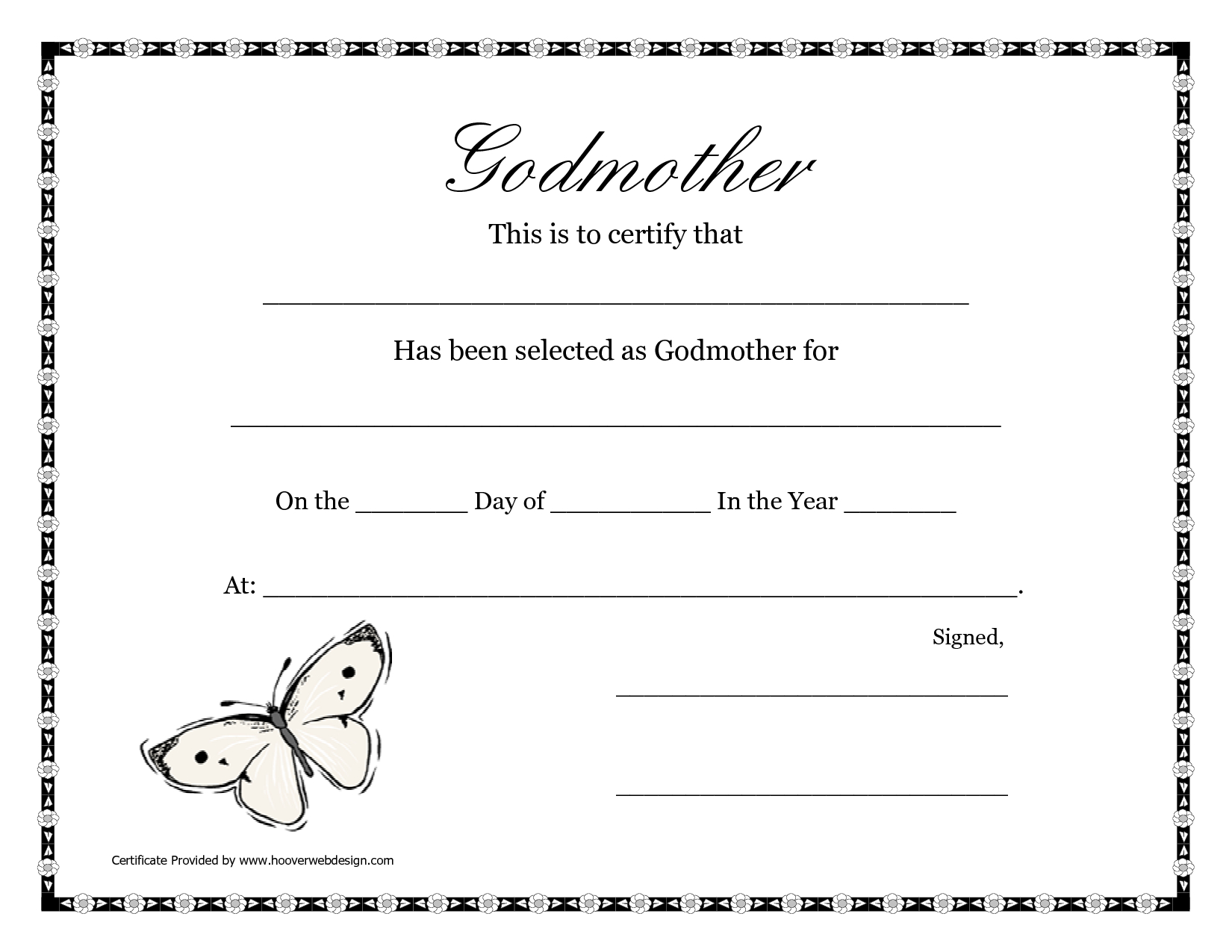 Free Printable Godparent Certificates  Printable Godmother Intended For Baby Christening Certificate Template