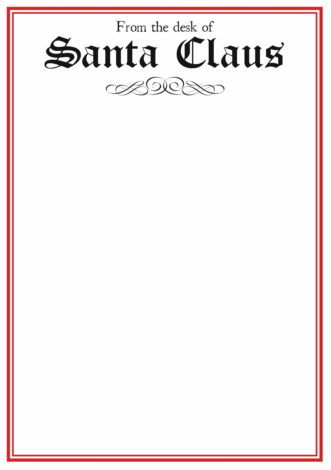Free Printable Letter From Santa Template Word Download For Blank Letter From Santa Template