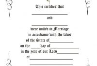 Free Printable Marriage Certificate Template  Mandegar intended for Blank Marriage Certificate Template