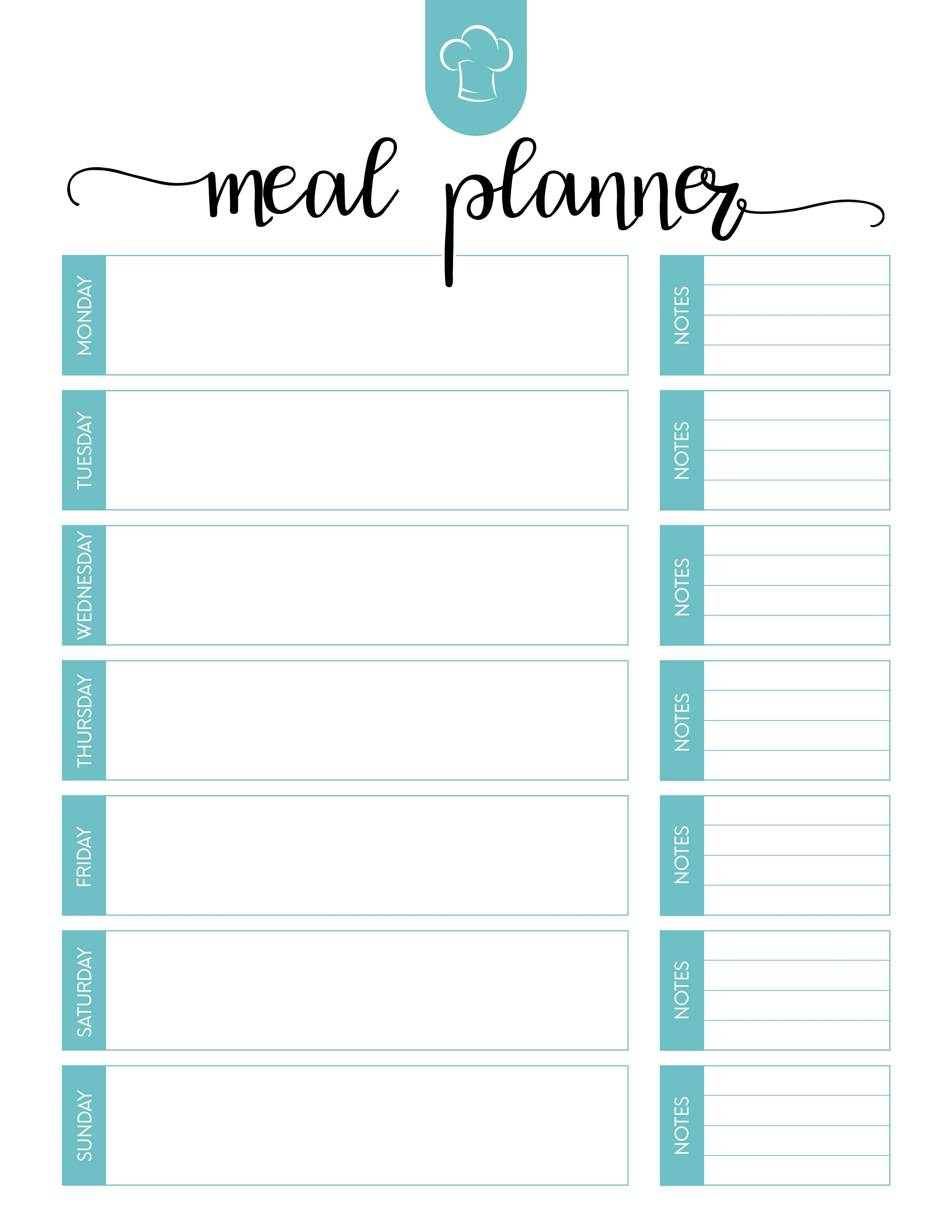 Free Printable Meal Planner Set  The Cottage Market Within Blank Meal Plan Template