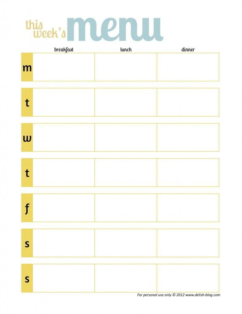 Free Printable Menu Planners Has One Without Days Of The Week Throughout Free Printable Menu Template