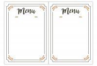 Free Printable Menu Template  Room Surf pertaining to Blank Dinner Menu Template