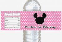 Free Printable Mickey Mouse Water Bottle Labels  Page   Water in Minnie Mouse Water Bottle Labels Template